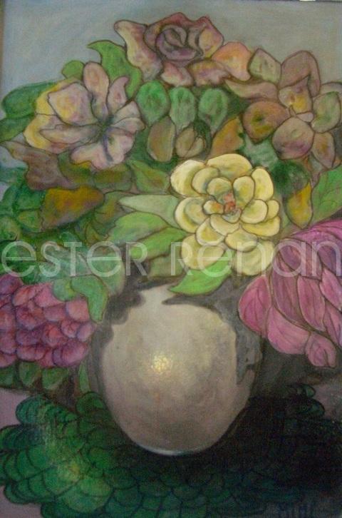 Mim renan vaso di fiori 50x70 acrilico for Vasi di fiori dipinti